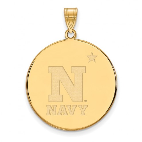 Navy Midshipmen Sterling Silver Gold Plated Extra Large Disc Pendant