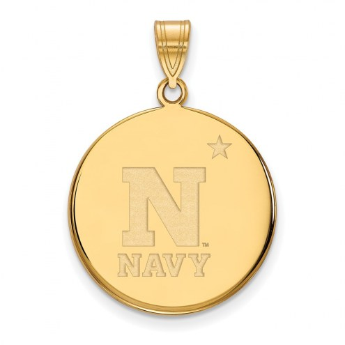 Navy Midshipmen Sterling Silver Gold Plated Large Disc Pendant