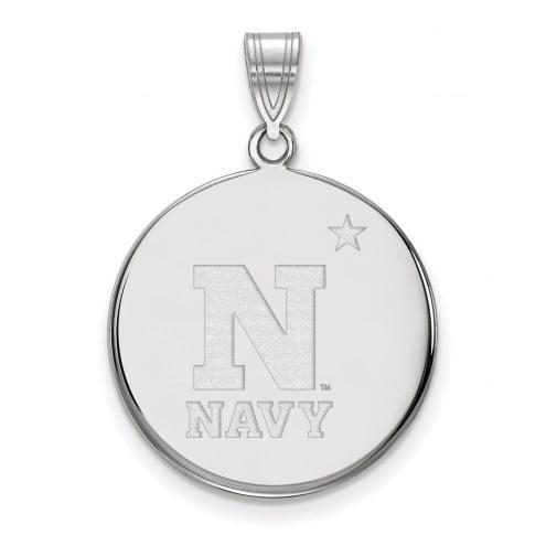 Navy Midshipmen Sterling Silver Large Disc Pendant