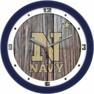 Navy Midshipmen Weathered Wood Wall Clock