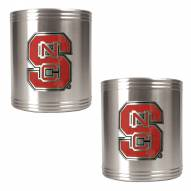 NC State Wolfpack College Stainless Steel Can Holder 2-Piece Set