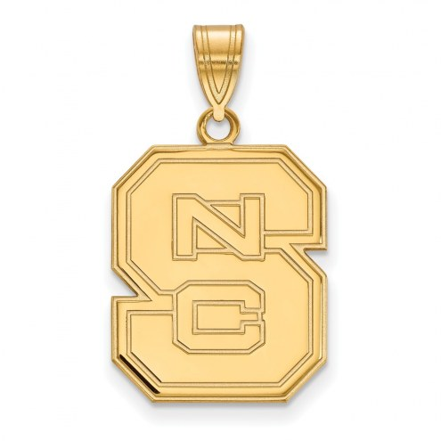 North Carolina State Wolfpack NCAA Sterling Silver Gold Plated Large Pendant