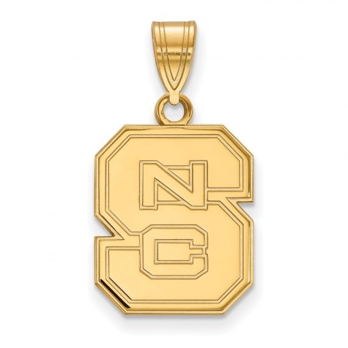 North Carolina State Wolfpack NCAA Sterling Silver Gold Plated Medium Pendant
