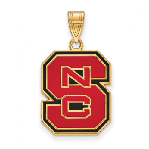 North Carolina State Wolfpack Sterling Silver Gold Plated Large Enameled Pendant
