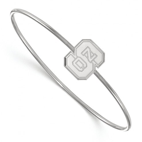 North Carolina State Wolfpack Sterling Silver Bangle Slip on Bracelet