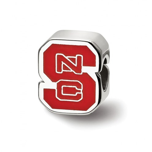 North Carolina State Wolfpack Sterling Silver Enameled Bead