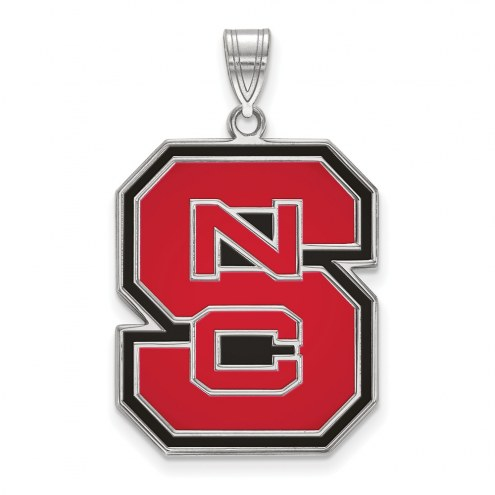 North Carolina State Wolfpack Sterling Silver Extra Large Enameled Pendant