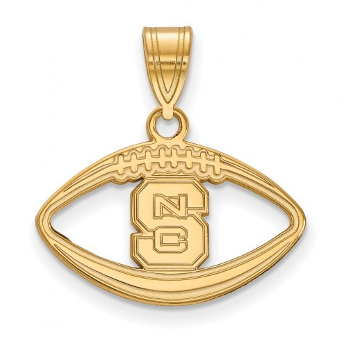 North Carolina State Wolfpack Sterling Silver Gold Plated Football Pendant