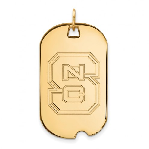 North Carolina State Wolfpack Sterling Silver Gold Plated Large Dog Tag