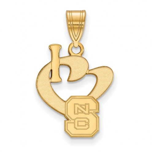 North Carolina State Wolfpack Sterling Silver Gold Plated Large I Love Logo Pendant