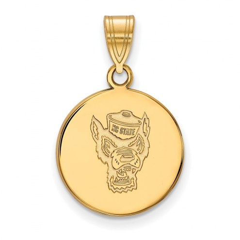 North Carolina State Wolfpack Sterling Silver Gold Plated Medium Disc Pendant