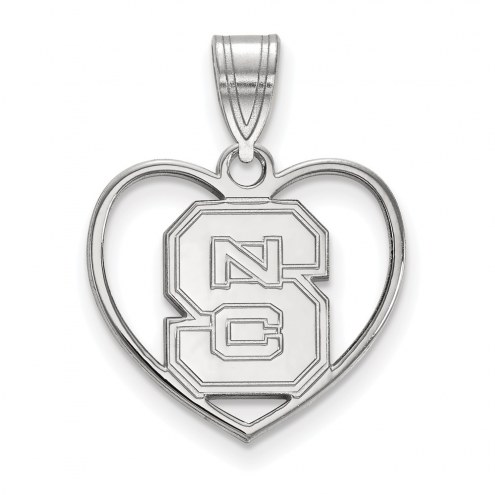 North Carolina State Wolfpack Sterling Silver Heart Pendant