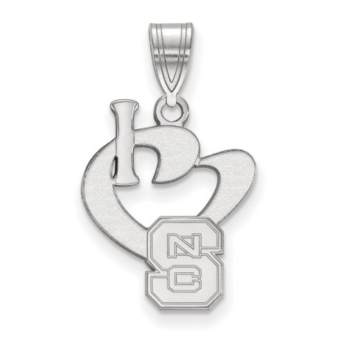 North Carolina State Wolfpack Sterling Silver Large I Love Logo Pendant