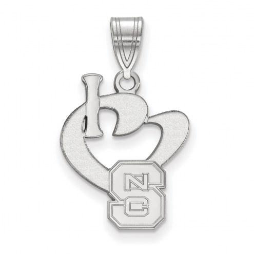 North Carolina State Wolfpack Sterling Silver Large I Love Logo Pendant