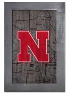"Nebraska Cornhuskers 11"" x 19"" City Map Framed Sign"