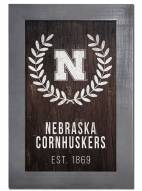 "Nebraska Cornhuskers 11"" x 19"" Laurel Wreath Framed Sign"