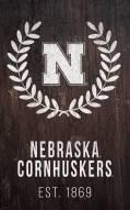 """Nebraska Cornhuskers 11"""" x 19"""" Laurel Wreath Sign"""