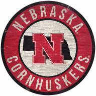 "Nebraska Cornhuskers 12"" Circle with State Sign"