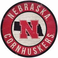 "Nebraska Cornhuskers 12"" Circle with State Sign"
