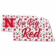 """Nebraska Cornhuskers 12"""" Floral State Sign"""