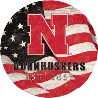 "Nebraska Cornhuskers 12"" Team Color Flag Circle Sign"