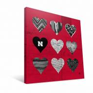 "Nebraska Cornhuskers 12"" x 12"" Hearts Canvas Print"