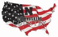 "Nebraska Cornhuskers 15"" USA Flag Cutout Sign"