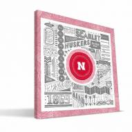 "Nebraska Cornhuskers 16"" x 16"" Pictograph Canvas Print"