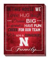 "Nebraska Cornhuskers 16"" x 20"" In This House Canvas Print"