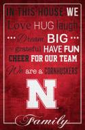 """Nebraska Cornhuskers 17"""" x 26"""" In This House Sign"""
