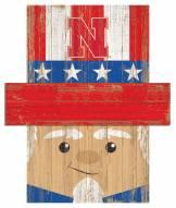 "Nebraska Cornhuskers 19"" x 16"" Patriotic Head"
