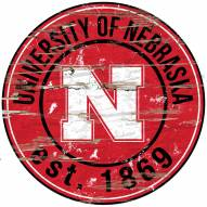 "Nebraska Cornhuskers 24"" Round Wood Sign"