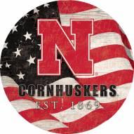 "Nebraska Cornhuskers 24"" Team Color Flag Circle Sign"