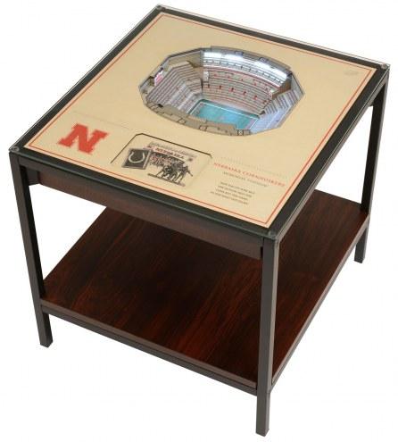 Nebraska Cornhuskers 25-Layer StadiumViews Lighted End Table