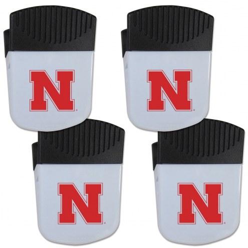 Nebraska Cornhuskers 4 Pack Chip Clip Magnet with Bottle Opener