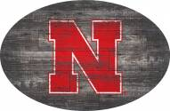 "Nebraska Cornhuskers 46"" Distressed Wood Oval Sign"