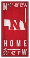 "Nebraska Cornhuskers 6"" x 12"" Coordinates Sign"