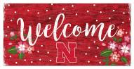 "Nebraska Cornhuskers 6"" x 12"" Floral Welcome Sign"