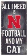 "Nebraska Cornhuskers 6"" x 12"" Football & My Cat Sign"