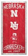 """Nebraska Cornhuskers 6"""" x 12"""" Heritage Sign"""