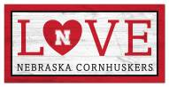 "Nebraska Cornhuskers 6"" x 12"" Love Sign"