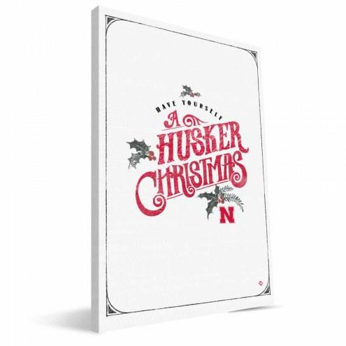 "Nebraska Cornhuskers 8"" x 12"" Merry Little Christmas Canvas Print"