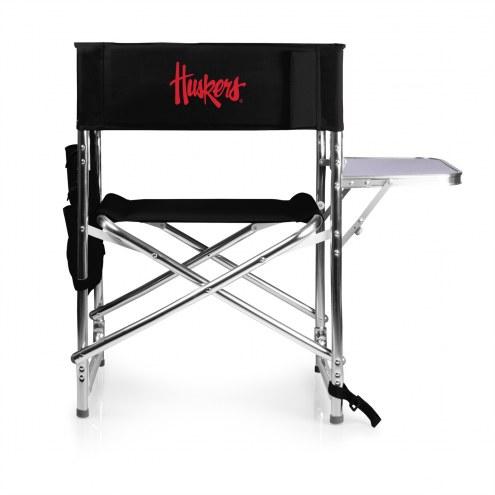 Nebraska Cornhuskers Black Sports Folding Chair