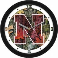Nebraska Cornhuskers Camo Wall Clock
