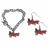 Nebraska Cornhuskers Chain Bracelet & Dangle Earring Set