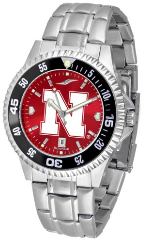 Nebraska Cornhuskers Competitor Steel AnoChrome Color Bezel Men's Watch