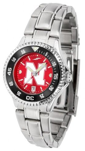 Nebraska Cornhuskers Competitor Steel AnoChrome Women's Watch - Color Bezel