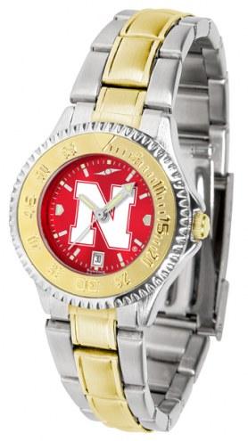 Nebraska Cornhuskers Competitor Two-Tone AnoChrome Women's Watch