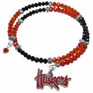 Nebraska Cornhuskers Crystal Memory Wire Bracelet
