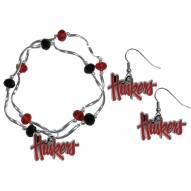 Nebraska Cornhuskers Dangle Earrings & Crystal Bead Bracelet Set